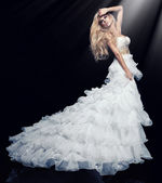 Sexy blond woman in white dress — Stock Photo