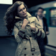 Young woman waiting on the train — Stock Photo