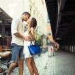 Couple in love kissing each other in city center — Stock Photo #30167069