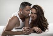 Emotive portrait of sensual couple — Stock Photo