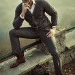 Fashion man posing — Stockfoto
