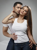 Sensual couple in studio — Stock Photo