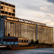 Abandoned Grain Elevator near Buffalo New York at Sunset. - Stock Photo