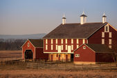 Red Barn in the Morning Sun — Stock Photo