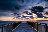 Backlit Pier during Sunset — Stock Photo