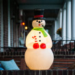 Royalty-Free Stock Photo: Christmas Snowman Decoration on Porch in City