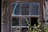 Broken window of an abandoned house — Stock Photo