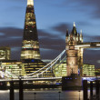 Tower Bridge and The Shard by night, London, UK — Stock Photo #20015483