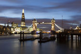 Tower Bridge and The Shard by night — Stock Photo