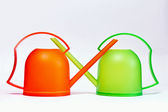 Plastic watering can — 图库照片