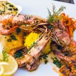Flamed Prawns - Stock Photo