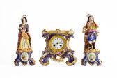 Rococo porcelain clock — Stock Photo