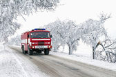 Ride fire truck to standby action in freezing weather — Stock Photo