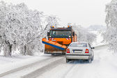 Winter maintenance of roads in mountain areas — Stock Photo