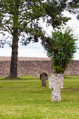 Crosses on the graves of tortured prisoners from the concentration camp — Stock Photo