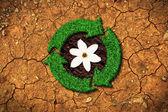Ekolojik konsept - çim geri dönüşüm işareti kırık bir zemin üzerinde — Stok fotoğraf