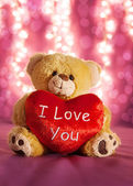 Little teddy bear with big heart — Foto Stock