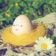 Retro style Easter egg with female face drawn on it — Stock Photo #41972363