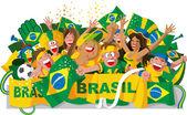бразилия футбольных фанатов — Cтоковый вектор