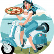 pizza girl — Stock Vector