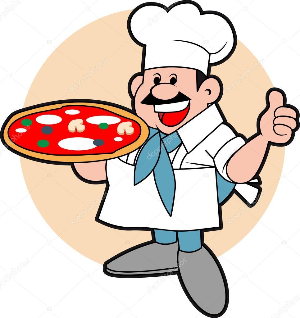 Pizza Chef Vector Chef Holding a Big Pizza