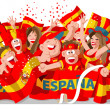 Spain Soccer Fans — Stock Vector