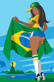 Brazilian soccer fan — Stock vektor