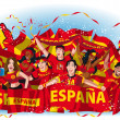 Spain Soccer fans cheering — Stock Vector