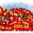 Spain Soccer fans cheering — Stock Vector #42053577