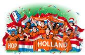 Netherlands Soccer fans cheering — Stock Vector