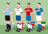Equipos de fútbol — Vector de stock
