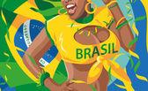 ブラジル サッカーの背景 — Stock vektor