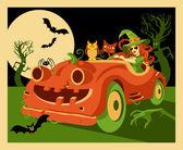 Pumpkin Car — Stock Vector