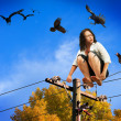 Girl on a Wire - Stock Photo