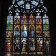 Stained glass window in Brussels's Cathedral — Stock Photo