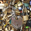 Stock Photo: Prominent Love Padlock on Pont de l'Archeveche in Paris
