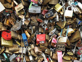 Love Padlocks on Pont de l'Archeveche in Paris — Stock Photo