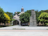 Armenian Genocide memorial in front of Saint Vartan Baptistery, Etchmiadzin — Stock Photo