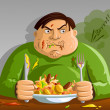 Stock Vector: Greed - Gluttony - Man Overeating