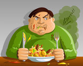 Greed - Gluttony - Man Overeating — Stock Vector