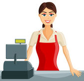 Smiling Cashier Girl — Stock Vector