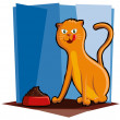 Vector de stock : Cat Eating Food
