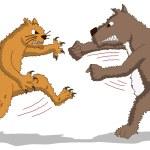 Cat versus Dog - Fight — Stock Vector