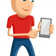Man Holding Smart Phone - Stock Vector