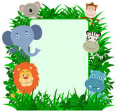 Jungle Animals Frame with copy space — Stock Vector