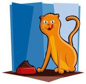 Cat Eating Food — Stock Vector