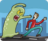 Man chased by Monster — Stock Vector