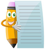 Pencil Character with note paper — Stock Vector