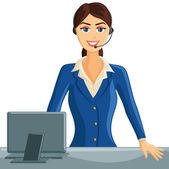 Smiling Receptionist Girl — Stock Vector