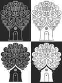 House tree hearts — Stock Vector